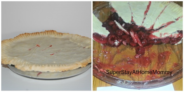This pie was filled with canned cherry pie filling.